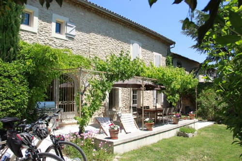 The base for our Provence bicycle tours - our 17th century farmhouse built from white Gordes stone.