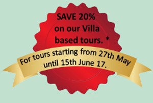 Save 20% on tours starting between May 27th and June 15th