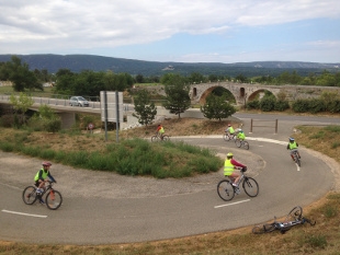 Provence bike tour, France - View of the bike track at Pont Julien.