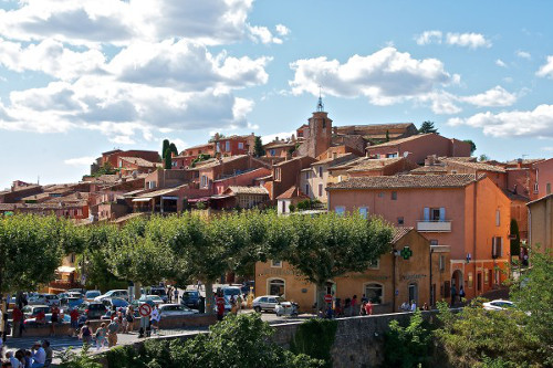 Market in Roussillon, one of the most beautiful villages in France.