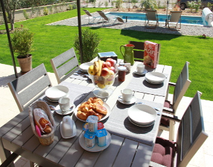 Breakfast  on the terrace.