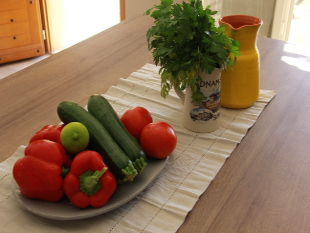 Provencal produce in the Villa Kitchen in Taillades