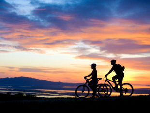 Bikers at sunset.