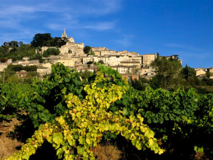 View up to the hill-top village of Bonnieux.