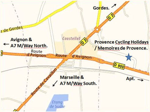 Provence cycling tours - How to find us in Coustellet.