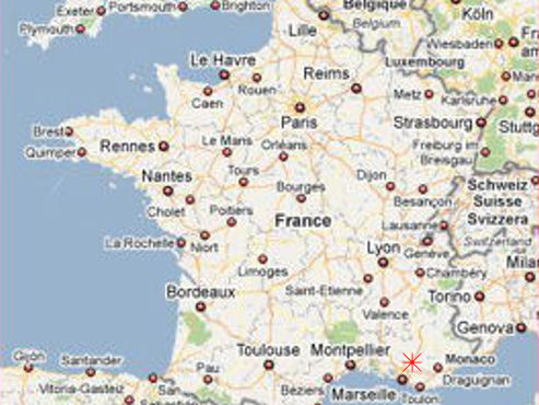 Provence bike trips - Map of France.
