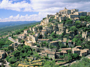 View of the nearby hill-top village of Gordes.