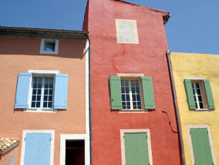 View of the ocre coloured houses in Roussillon.
