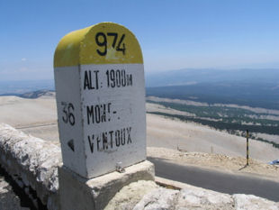 Mont Ventoux mile stone @ 1900 metres - almost there!