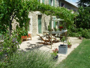 Provence bicycle tours - breakfast buffet under the vines before your bike ride.